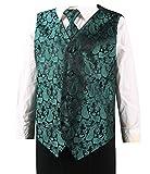 L & L Kinder Kinder Junge Paisley-Design Weste und Krawatte Taschentuch Set für Anzug - Dunkelgrün, 4-6 years old