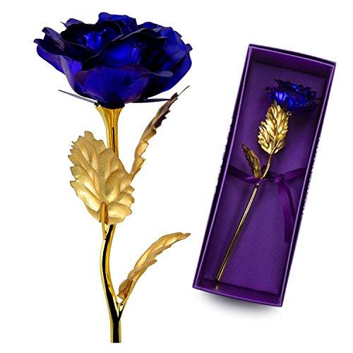 Ausgefallene valentinstag geschenke für frauen,24K Blattgold Rose mit Geschenkbox,Mutter Tag Geschenk Geburtstag Geschenk Geburtstagsgeschenk ,geschenke zur hochzeit, Hochzeitsgeschenk(Blau)