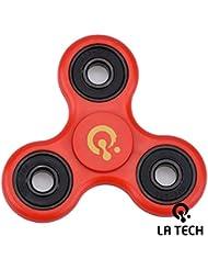 LA TECH - RED Tri Fidget Hand Spinner - roulements ultra rapides - jouet grand cadeau - Rouge …
