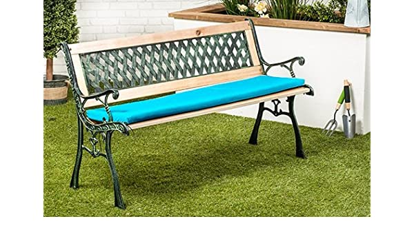 Turquoise Water Resistant Small Outdoor Metal Bench Seat Cushion