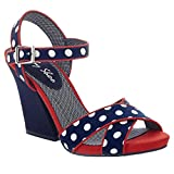 Ruby Shoo Ladies Evie Navy Spots Cross Over Strap Sandal Vegan Friendly Shoes-UK 4 (EU 37)