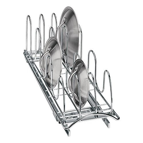 Lynk Professional Roll Out Pan Lid Holder - Pull Out Kitchen Cabinet Organizer Rack - Chrome