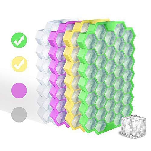 HoneyHolly Food Grade Silikon Hexagon EIS Würfel Trays mit Deckel, Idee Küche Werkzeuge zu DIY Spezielle kleine Chilling Cubes für Getränke, Whisky, Wein und kleine Durchmesser Flaschen (2er Pack) -