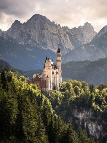 Poster 30 x 40 cm: Schloss Neuschwanstein vor den Bergen der Alpen von Andreas Wonisch - hochwertiger Kunstdruck, neues Kunstposter (Poster Neuschwanstein Schloss)