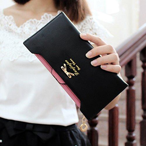 Multi-sottile signora femminile portafoglio lungo tratto del fatture della carta di Bit cartella zip Due Fold Wallet Clutch ( colore : Nero ) Nero