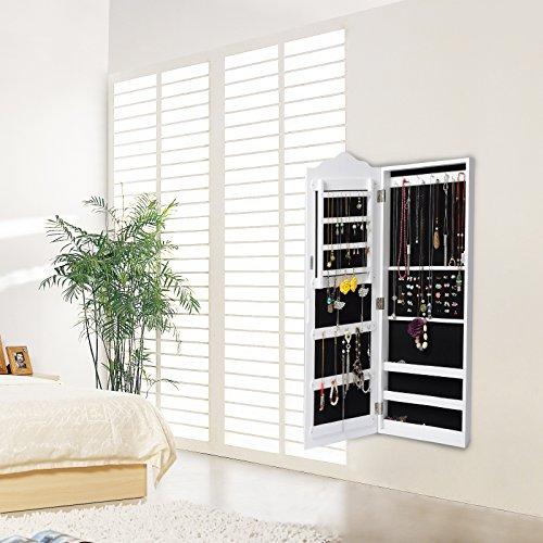 WOLTU MB0001ws Spiegel Schmuckschrank Standspiegel Wandspiegel Spiegelschrank Schmuckkasten, MDF Holz, mit Magnetverschluss, Weiß, ca. 96 x 35 x 9 cm (H x B x T) - 4