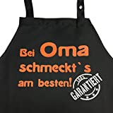 Grillkönig Bei OMA schmeckt`s Garantiert! - Kochschürze, Latzschürze mit verstellbarem Nackenband und Seitentasche (Schwarz) Oma Geschenk Weihnachten