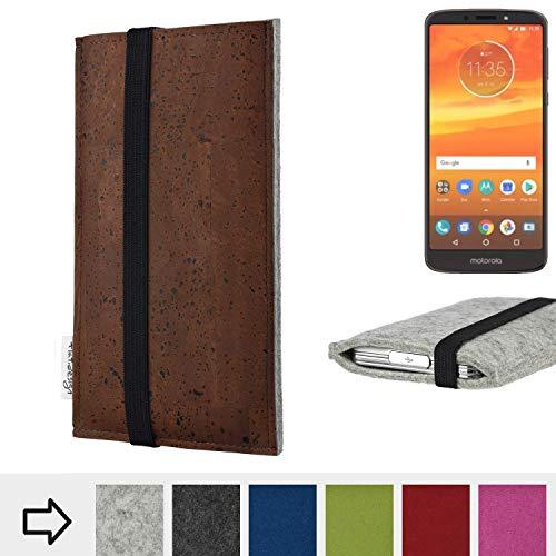 flat.design Handy Hülle Sintra für Motorola Moto E5 Plus Dual-SIM maßgefertigte Handytasche Filz Tasche Schutz Case braun Kork