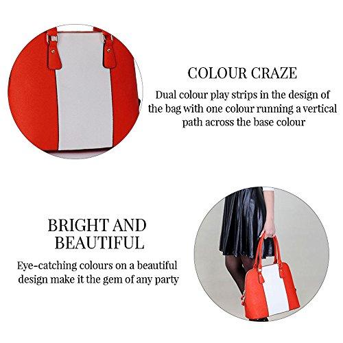 TrendStar Damen Schwarz Leder Handtasche Neue Tote Konstrukteur Stil Berühmtheit Umhängetasche Orange/Weiß