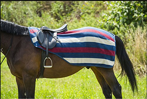 Equi-Theme-Stripe-Collection-Newmarket-Fleece-Exercise-SheetQuarter-Kidney-Rug-NavyBurgundySand-3-Sizes