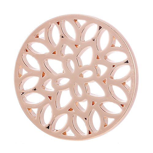 Morella® Damen Coin Blätterwald rosegold 33 mm
