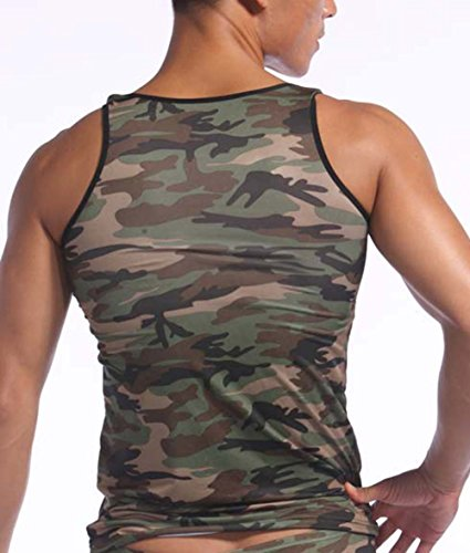 Mendove Men's Gym Sleeveless Camo Tank Top Army Green