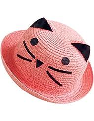 Moollyfox Sombrero de Playa Gorra Paja Verano Gato Adorable Para Niño Niña Rubber Pink