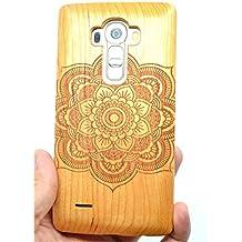 LG G4 Funda de Madera, PhantomSky[Serie de Lujo] Natural Hecha a mano de Bambú / Madera Carcasa Case Cover para tu Smartphone - Mandala Madera Cerezo(Cherry Wood Mandala)