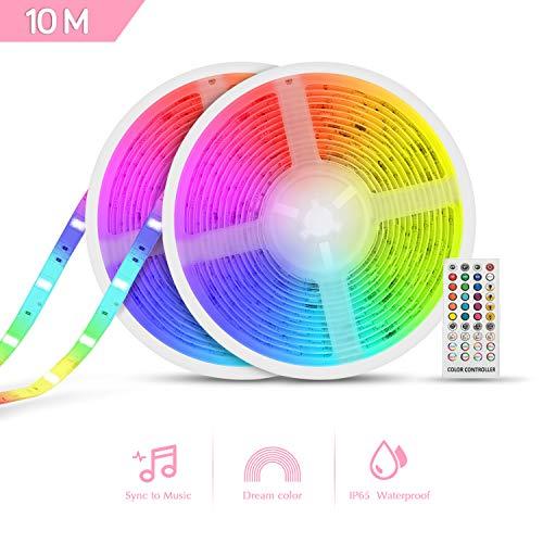 Dreamcolor Striscia LED Musicale TASMOR 10M Autoadesiva Striscia Luminosa Strisce LED con il Colore dellarcobaleno IP65 Impermeabile Nastri Led
