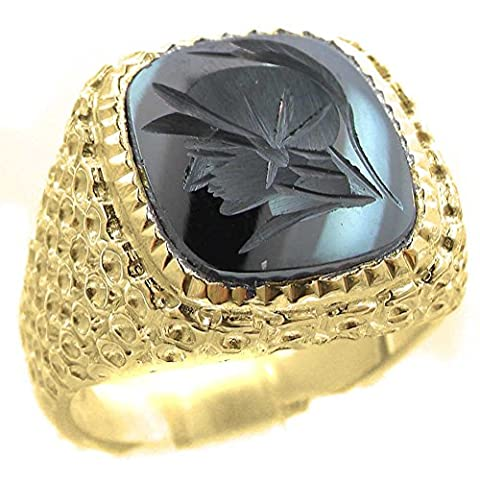 Mens Mans Solid 9ct Yellow Gold Natural Hematite Intaglio Centurion Signet Ring (Milled Edge Setting)- Sizes N to Z+3 Available