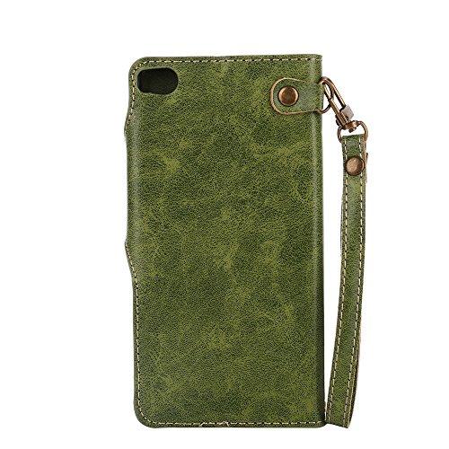 YHUISEN Huawei P8 case, Luxus Retro Rose Premium PU Leder Magnetverschluss Flip Wallet Schutzhülle mit Lanyard für Huawei P8 ( Color : Orange ) Green