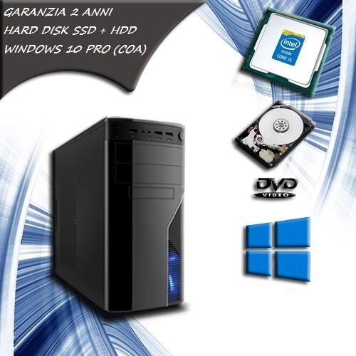 Computer fisso INTEL CORE i5 QUAD CORE pc desktop SSD 120 HDD 1 TB RAM 8 GB SCHEDA VIDEO 1 GB WINDOWS 10 PRO COA STICKER - WiFi - ALTE PRESTAZIONI SISTEMA OPERATIVO COMPLETO