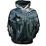 Yookstar Sweatshirt,Halloween Gedruckt Pullover Vogelscheuche Baumwurzel Schrecklich Unisex Hoodie Outerwear(Gray,4XL)
