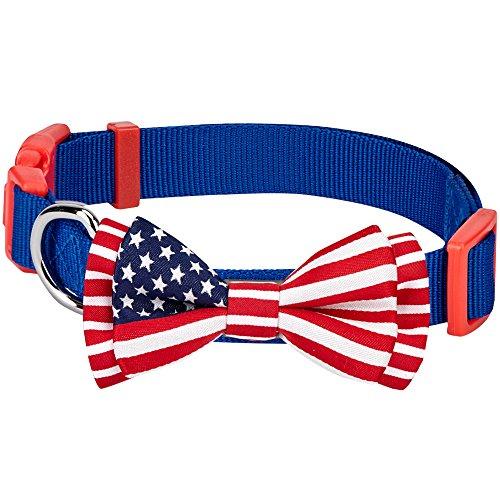 alstolz Klassische Handgefertigte Amerikanische Flagge Fliege Hundehalsband in Blau, M, Hals 37cm-50cm (Planet Kostüm Ideen)