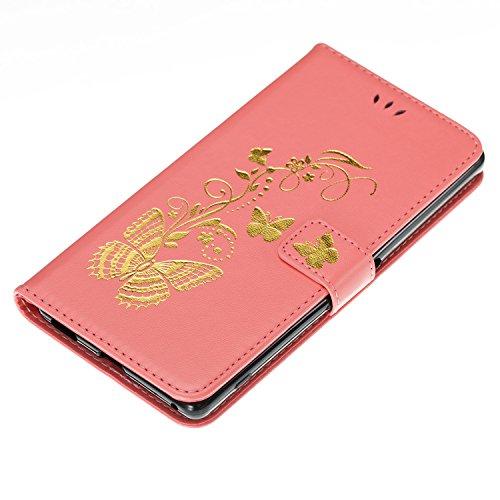ISAKEN Custodia per Sony Xperia XA Ultra con Strap, Elegante borsa Tinta Unita Farfalla Design in Sintetica Ecopelle PU Pelle Protettiva Portafoglio Flip Case Cover con Supporto di Stand / Carte Slot bronzante Rosa