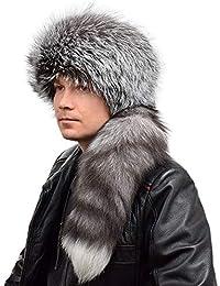 FOX FASHION Herren Trappermütze mit Schweif aus echtem Silberfuchsfell  Winter Mütze Silberfuchs Pelz Fell Trapper Pelzmütze 84a5232026