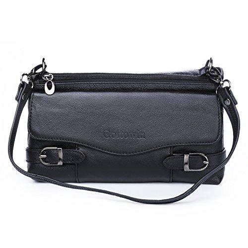 Katloo Funktional Leder Damen Kleine Cross-Body Umhängetasche Handtasche Clutch Geldbörse mit 2 Riemen (Schwarz)