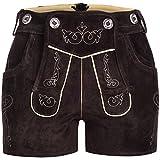 Damen Trachten Lederhose Shorts - Trachtenlederhose Klassische Stickerei in beige - Neue Kurze Länge - mit Trägern
