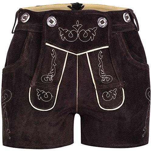 Mufimex Damen Trachten Lederhose Shorts Neue Kurze Länge Dunkelbraun 34