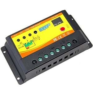 hqrp 10a r gulateur contr leur de charge batterie tension panneau solaire 12v 24v 10 amp 150w. Black Bedroom Furniture Sets. Home Design Ideas