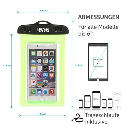 Naruba Media Waterproof | wasserdichte Handyhülle für alle Smartphones bis zu 6 Zoll |19,5 x 11,5 x 1,2 cm| inklusive Gurt und Schnellverschluss |Blau Grün