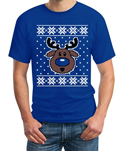 Hässlicher Weihnachtspullover Rudolph Rudolf Rentier T-Shirt Blau