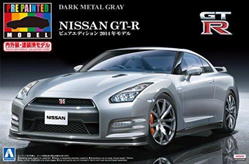Aoshima Bunka Kyozai 1./2.4. previo a la pintura modelo de serie No. 3.9. Nissan GT-R R3.5. 2.01.4.-ano de metal gris oscuro pintado modelo de plaestico