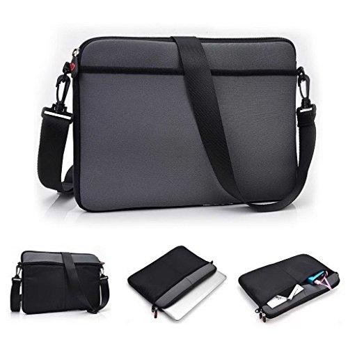 Kroo uneversal Messenger/Sleeve Tasche mit Zubehör Tasche und Schulterriemen passt für Dell Latitude 12E5250 grau grau