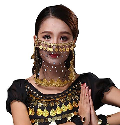 PICCOLI MONELLI Velo Viso Danza del Ventre Accessorio Carnevale per odalisca Ragazza Donna Bambina Colore Nero e Oro