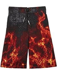 d6370df65d Boys Black & Orange Digital Fire Swim Trunks Board Shorts 8