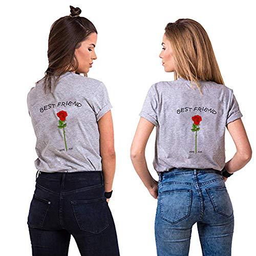Best Friends Sister Tshirt für Zwei Damen Freund Shirts mit Rose Tops Sommer Oberteil BFF Geburtstagsgeschenk 1 Stücke Symbolische Freundschaft (XL,Grau)
