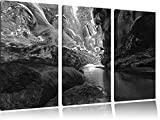 abstract Eislandschaft Art B & W 3-piece canvas picture 120x80 image on canvas, XXL huge Pictures completely framed with stretcher, art print on mural frame gänstiger as painting or an oil painting, not a poster or banner,