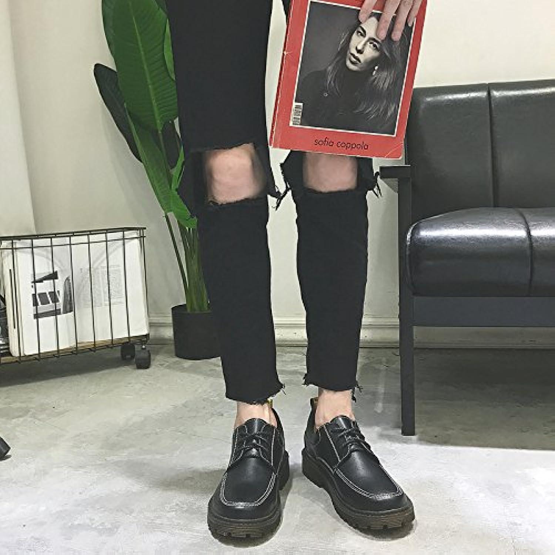 HL PYL   Martin Stiefel niedrig All Match koreanischen Retro Tooling Fashion Herren Schuhe  41  Schwarz