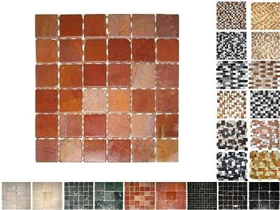1Netz Marmor Mosaik Rosso 48x48 von Mosaikdiscount24 GmbH auf TapetenShop