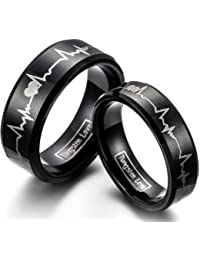 JewerlyWe FREE Engraving 2PCS of Matching His 8MM & Hers 6MM Comfort Fit Black Tungsten Carbide Engagement Wedding Bands Engraved Forever Love Heartbeat Promise Rings Set (Sizes H-Z+6 Available)