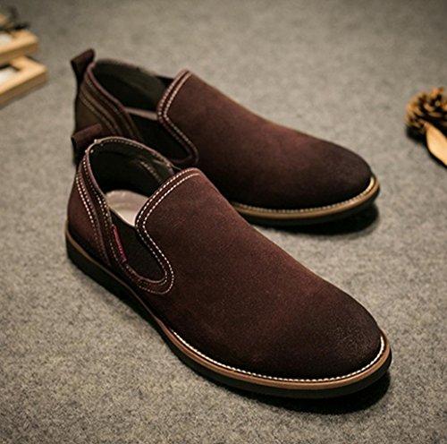 Heart&M casual en cuir véritable dépoli daim posé le pied en cuir chaussures mocassins hommes deep brown
