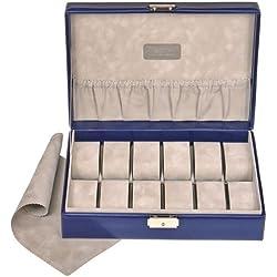 Sacher Uhren-Etui blau, Feinsynthetik in Lederoptik, innen Veloursamt grau