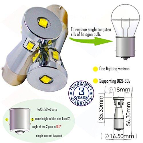Preisvergleich Produktbild Wiseshine ba15s 1156 7506 r5w r10w led birne lampen DC9-30v 3 Jahre Qualitätssicherung (2 Stück) ba15s 9 led HP Gelb