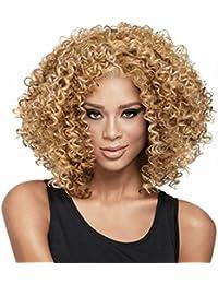 Américains Perruques africains synthétique Courts Bouclés Afro cheveux bouclés Pour les femmes noires 0444JS