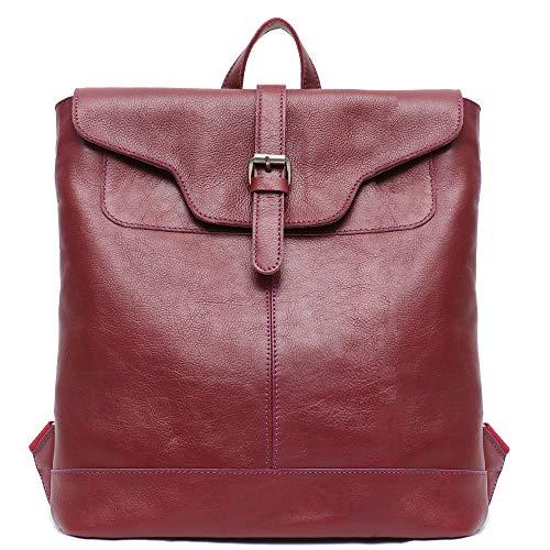 Klappe Schwarz Handtaschen (Stepheecath Laptoptasche mit Klappe, Leder, 33 cm (13 Zoll), Vintage, Retro-Stil, Kuhleder, Kordelzug vorne, luxuriös, echtes Leder 12.2