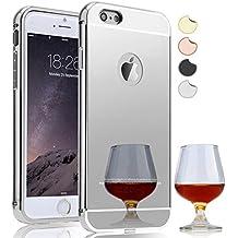 Semoss Lujo Bling Gliter Espejo Funda Aluminio Carcasa Diamante Case para Apple iPhone 7 Ultra Thin Mirror Efecto Metal Bumper Hardcase Shell Cover - Blanco