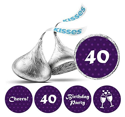 Darling Souvenir Packung mit 190 Stück DIY Prost 40. Geburtstag Aufkleber Hershey Kisses Labels-Lila