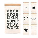 Paper-Bags zur Aufbewahrung von Spielzeug, Wäsche und weiteren Krimskrams - Beutel/Sack aus Papier - Papiertasche Motiv ABC
