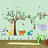 decalmile Tree and Jungle Animal Wall Decals Monkey Giraffe Elephant Wall Stickers Home Decoration Baby Nursery Kids Room Wall Decor